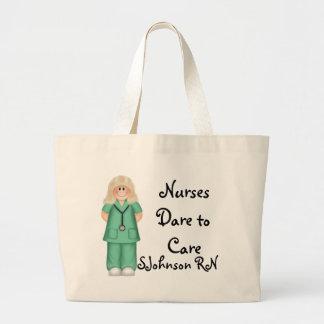 Nurses Dare to Care Large Tote Bag