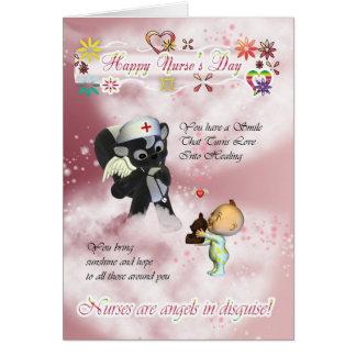 Nurse's Day cute little baby and cute nurse skunk Cards