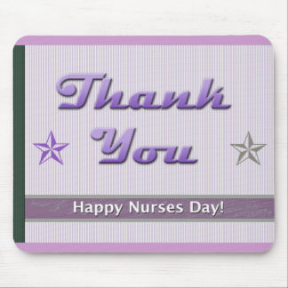 Nurses Day Purple Stripes and Stars Mouse Pad