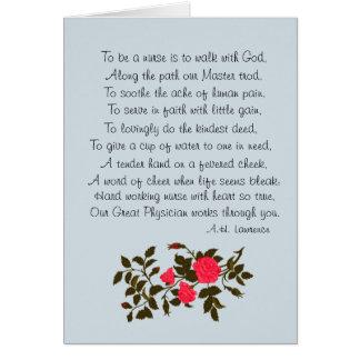 "Nurse's Day, ""To Be A Nurse"" poem Card"
