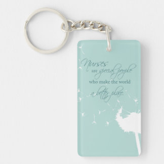 Nurses Day with Dandelion Blowing on Teal Keychain