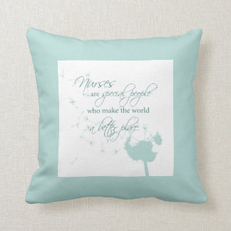 Nurses Day with Dandelion Blowing on Teal Pillow