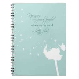 Nurses Day with Dandelion Blowing on Teal Spiral Notebook
