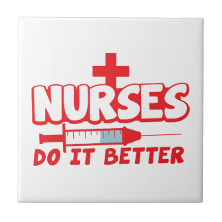 NURSES do it better! with needle and cross Ceramic Tile