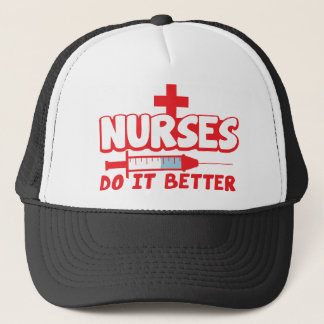 NURSES do it better! with needle and cross Trucker Hat