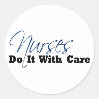 Nurses Do It With Care Classic Round Sticker