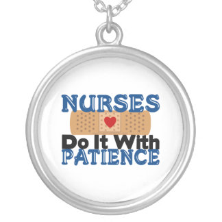Nurses Do It With Patience Round Pendant Necklace