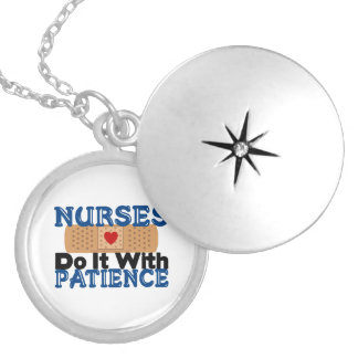 Nurses Do It With Patience Round Locket Necklace
