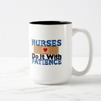 Nurses Do It With Patience Two-Tone Coffee Mug