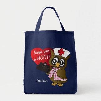 Nurses Give a Hoot Cartoon Owl Grocery Tote Bag