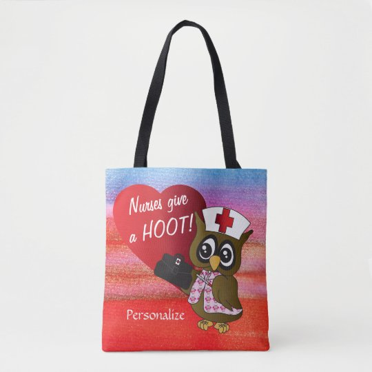 Nurses Give A Hoot Owl Nurse Tote Bag Zazzle Com