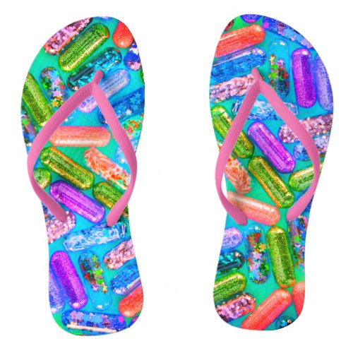 Nurse&#39&#x3B;s glittery fun medication flip flops
