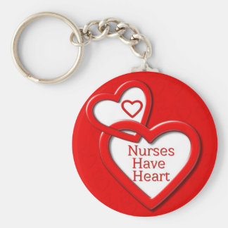Nurses Have Heart Red Hearts Basic Round Button Keychain