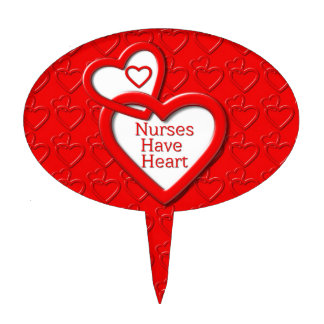 Nurses Have Heart Red Hearts Cake Toppers