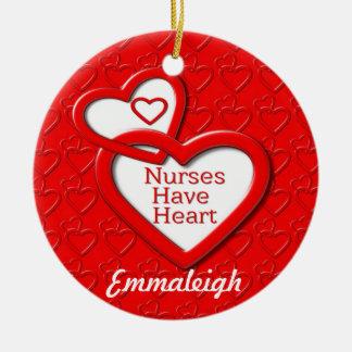 Nurses Have Heart Red Hearts Ceramic Ornament