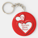 Nurses Have Heart Red Hearts Key Chains