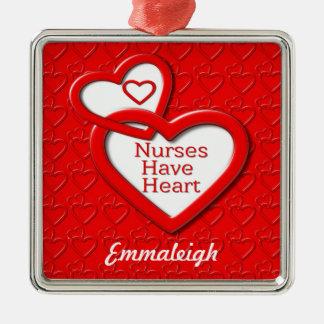 Nurses Have Heart Red Hearts Metal Ornament