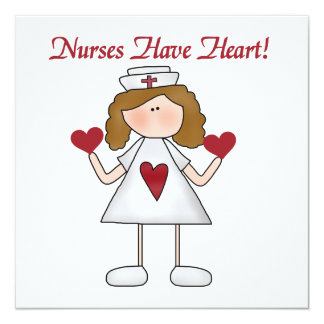 """Nurses Have Heart T-shirts and Gifts 5.25"""" Square Invitation Card"""