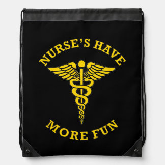 Nurse's Have More Fun Caduceus Drawstring Backpack