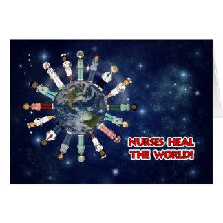 Nurses Heal the World Blank Card