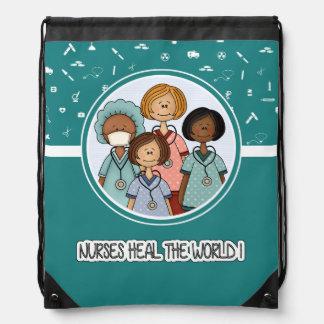 Nurses heal the World Gift Drawstring Backpack