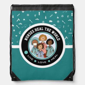 Nurses Heal the World. Gift Drawstring Backpack