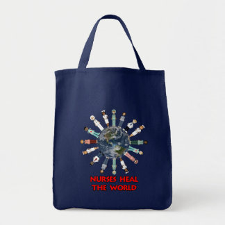 Nurses Heal the World Red Text and Globe Tote Bag