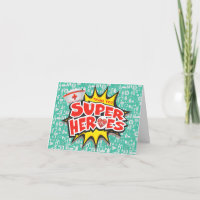 Nurses Healthcare Frontline Super Heroes Thank You Card
