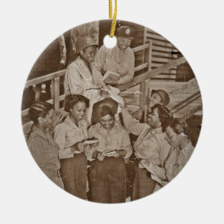 Nurses in the SW Pacific Getting Mail Ceramic Ornament