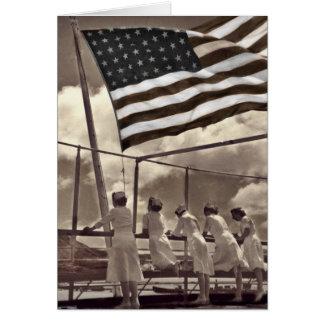 Nurses Looking at an Island 1945 Card