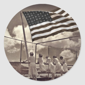 Nurses Looking at an Island 1945 Classic Round Sticker