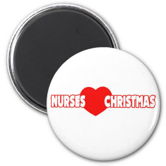 Nurses Love Christmas 2 Inch Round Magnet