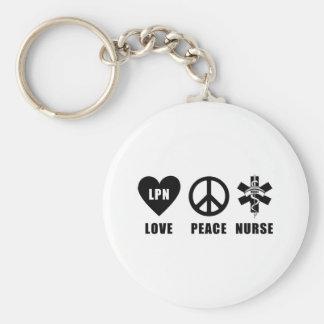 Nurses Love Peace LPN Key Chain