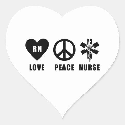 Nurses Love Peace RN Heart Sticker