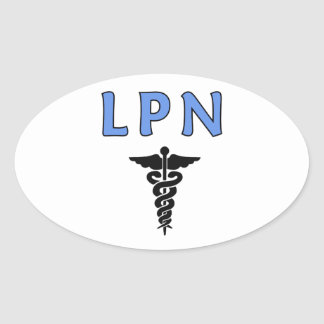 Nurses LPN Caduceus Oval Sticker