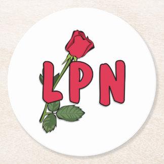 Nurses LPN Rose Round Paper Coaster
