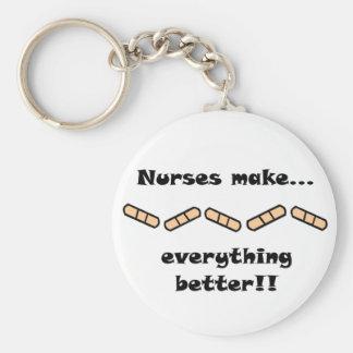 Nurses make everything better basic round button keychain