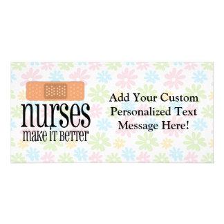 Nurses Make it Better, Bandage Customized Photo Card