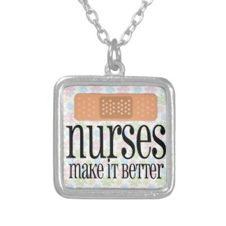Nurses Make it Better, Bandage Silver Plated Necklace