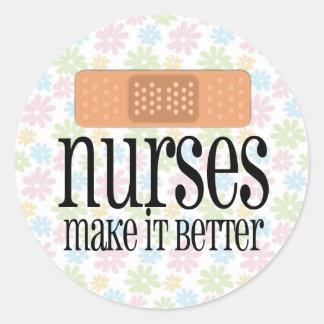 Nurses Make it Better, Bandage Round Stickers