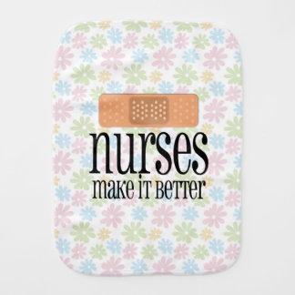 Nurses Make it Better, Cute Nurse Bandage Baby Burp Cloth