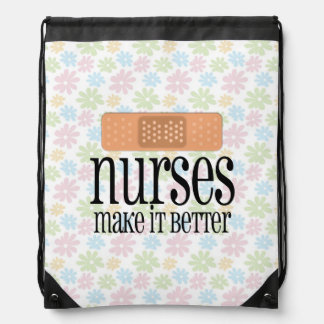 Nurses Make it Better, Cute Nurse Bandage Drawstring Bag