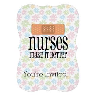 Nurses Make it Better, Cute Nurse Bandage Custom Invites