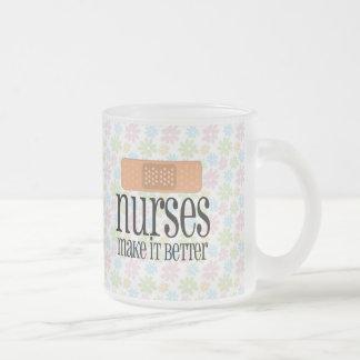 Nurses Make it Better, Cute Nurse Bandage 10 Oz Frosted Glass Coffee Mug
