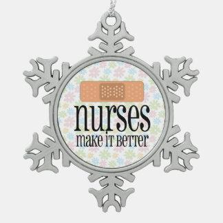 Nurses Make it Better, Cute Nurse Bandage Snowflake Pewter Christmas Ornament