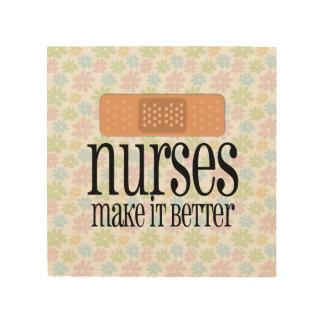 Nurses Make it Better, Cute Nurse Bandage Wood Print