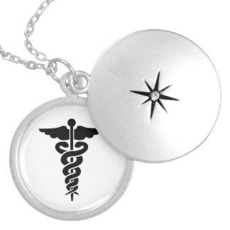 Nurses Medical Symbol Caduceus Round Locket Necklace