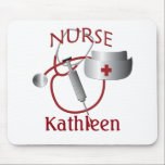 "Nurses Name Nurse Custom Mousepad<br><div class=""desc"">A graphic nurse design by artist/designer Charmaine Paulson on a mousepad. The mousepad has a customizable text template for your personalization.</div>"