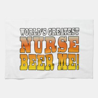 Nurses Parties : Worlds Greatest Nurse Beer Me Hand Towels