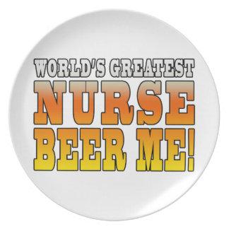 Nurses Parties : Worlds Greatest Nurse Beer Me Plate